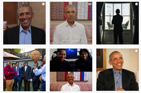 Ett exempel på galleri (Barack Obama's Instagram)